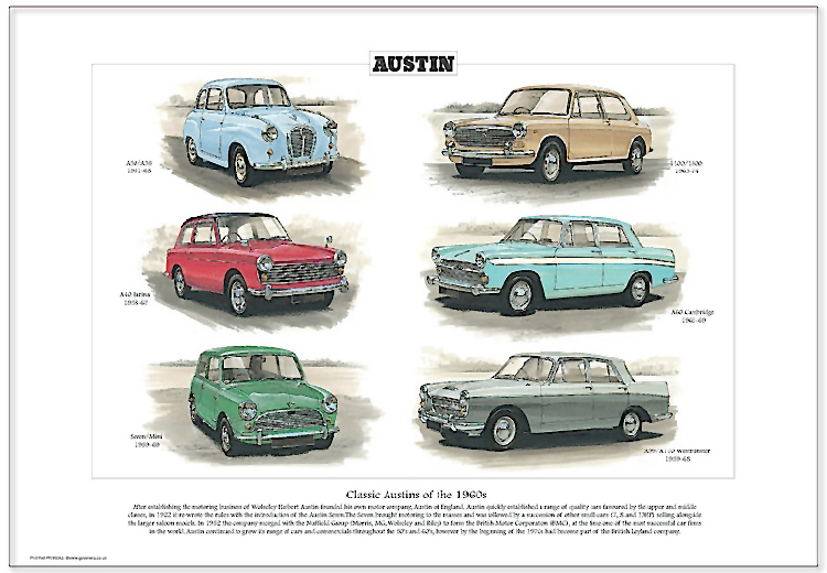 Golden Era Print - Austin - Classic Austins Of The 1960s