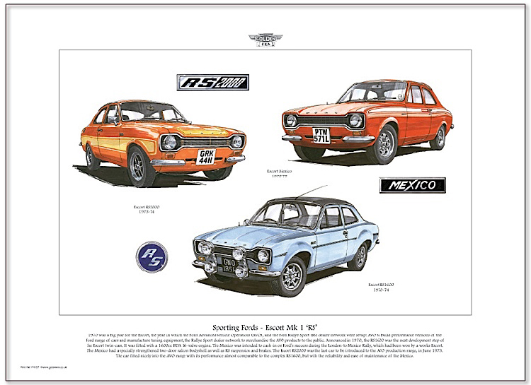 Golden Era Print - Ford - Sporting Fords - Escort Mk I ' Rs '