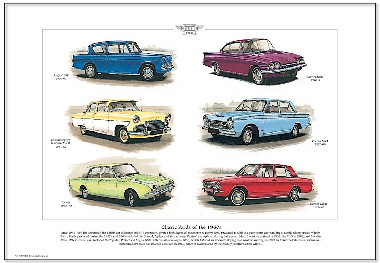Golden Era Print - Ford - Classic Fords Of The 1960s