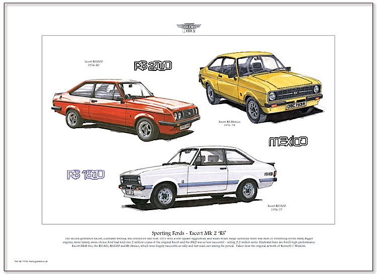 Golden Era Print - Ford - Sporting Fords - Escort Mk 2 ' Rs '
