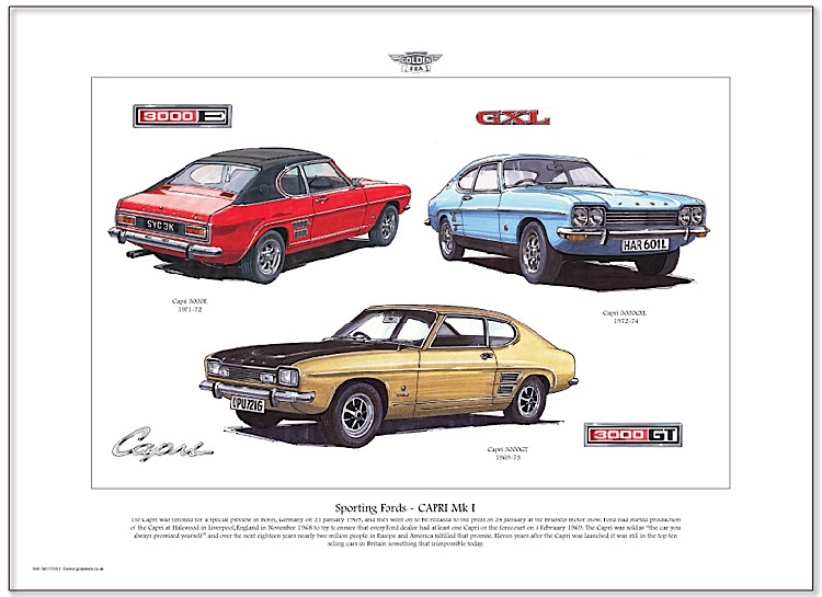 Golden Era Print - Ford - Sporting Fords - Capri Mk I