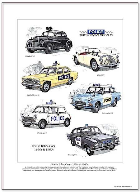 Golden Era Print - British Police Cars - 1950s & 1960s