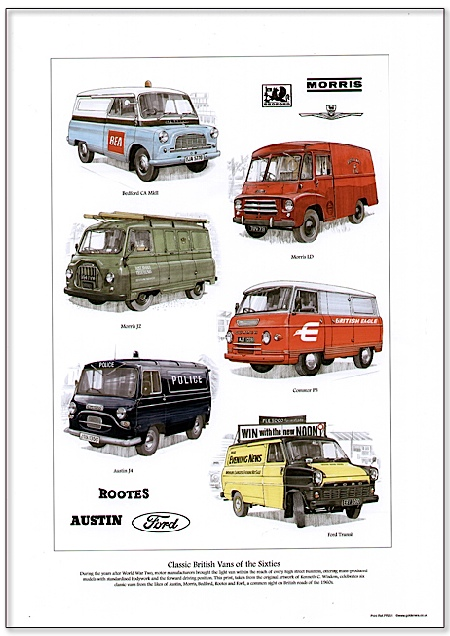Golden Era Print - Vans - Classic British Vans Of The Sixties