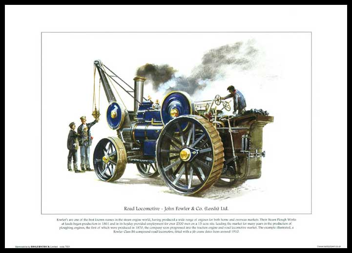 Rogerstock Ltd. - 25 Steam Traction Engine Prints - Road Locomotive By John Fowler & Co. (leeds) Ltd.
