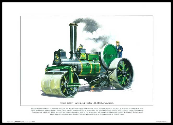 Rogerstock Ltd. - 25 Steam Traction Engine Prints - Steam Roller By Aveling & Porter Ltd.