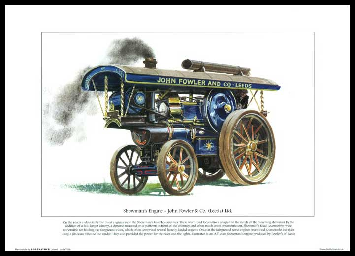Rogerstock Ltd. - 25 Steam Traction Engine Prints - Showman's Engine By John Fowler & Co. (leeds) Ltd.