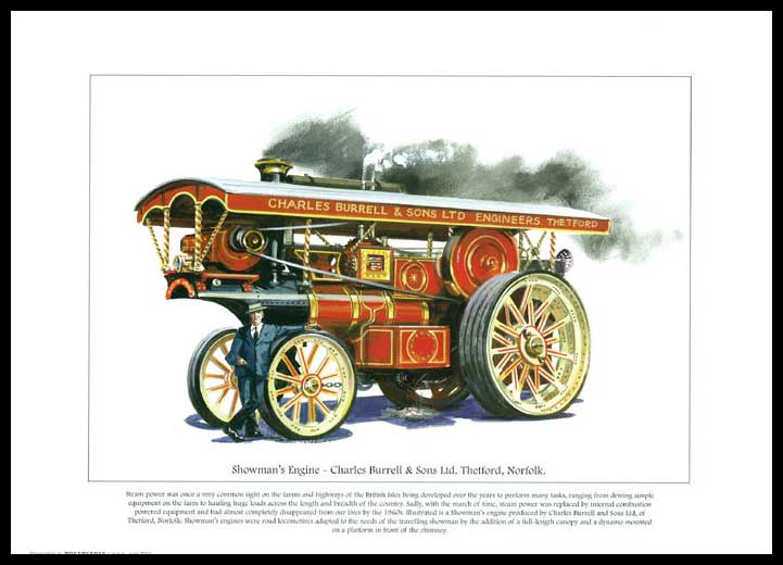 Rogerstock Ltd. - 25 Steam Traction Engine Prints - Showman's Engine By Charles Burrell & Sons Ltd.