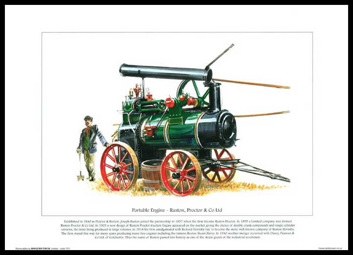 Rogerstock Ltd. - 25 Steam Traction Engine Prints - Portable Engine By Ruston, Proctor & Co. Ltd.