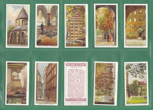 Card Collectors Society - Set Of 25 Churchman ' The Inns Of Court ' Cards