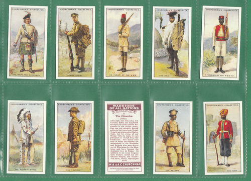 Card Collectors Society - Set Of 25 Churchman ' Warriors Of All Nations ' Cards