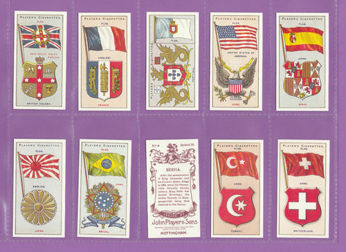 Card Collectors Society - Set Of 50 Player's ' Countries Arms & Flags ' Cards