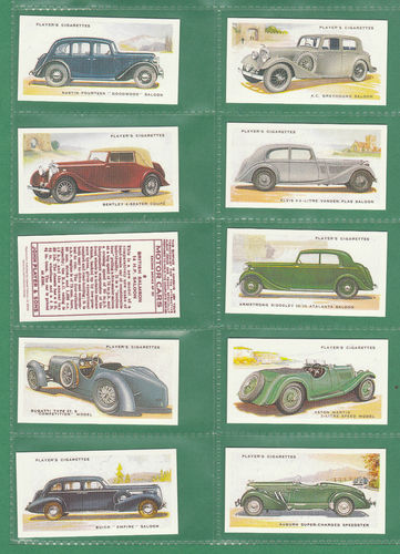 Card Collectors Society - Set Of 50 Player's ' Motor Cars 2nd Series ' Cards