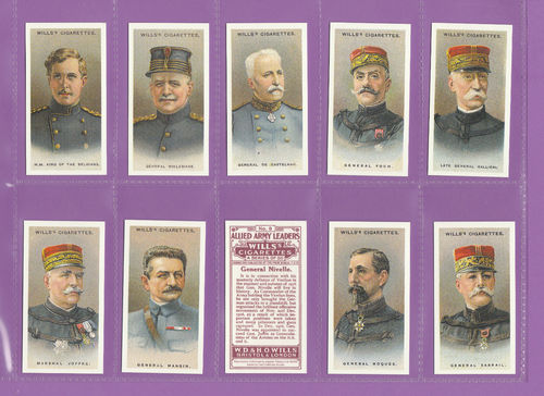 Card Collectors Society - Set Of 50 Wills ' Allied Army Leaders ' Cards