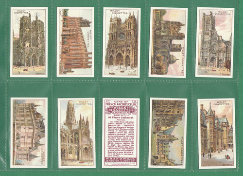 Card Collectors Society - Set Of 50 Wills ' Gems Of French Architecture ' Cards