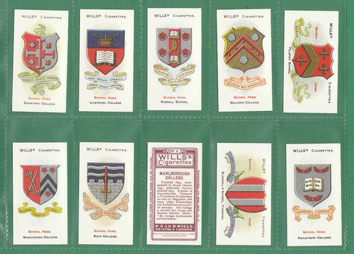 Card Collectors Society - Set Of 50 Wills ' School Arms ' Cards