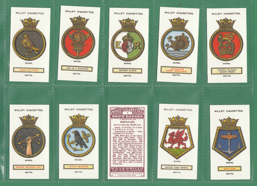 Card Collectors Society - Set Of 50 Wills ' Ships' Badges ' Cards