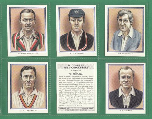 County Print Services - Set Of L 25 Middlesex Test Cricketers - 1994