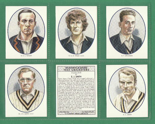 County Print Services - Set Of L 25 Warwickshire Test Cricketers - 1994