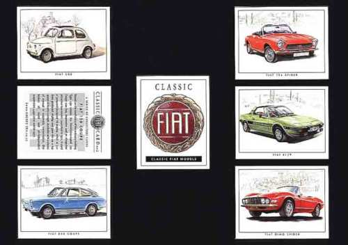 Golden Era - Set Of 7 Classic Fiat Cards - 2002