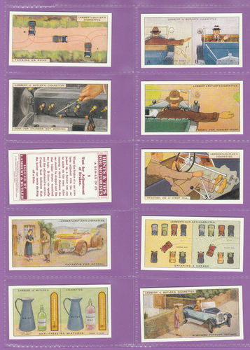 Imperial Publishing Ltd - Set Of 25 Lambert & Butler ' Hints 4 Motorists ' Cards