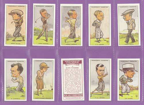 Imperial Publishing Ltd - Set Of 50 Churchman ' Prominent Golfers ' Cards