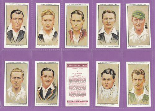 Imperial Publishing Ltd - Set Of 50 Player's ' Cricketers 1934 ' Cards