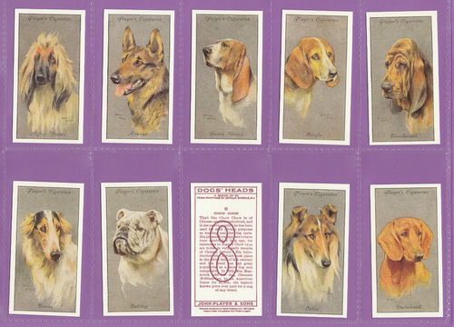 Imperial Publishing Ltd - Set Of 50 Player's ' Dog's Heads, Silvered ' Cards