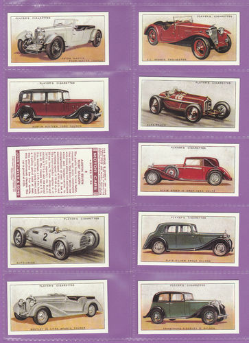 Imperial Publishing Ltd - Set Of 50 Player's ' Motor Cars A Series ' Cards