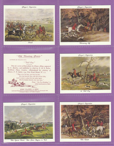 Imperial Publishing Ltd - Set Of 25 Large Player's ' Old Hunting Prints ' Cards