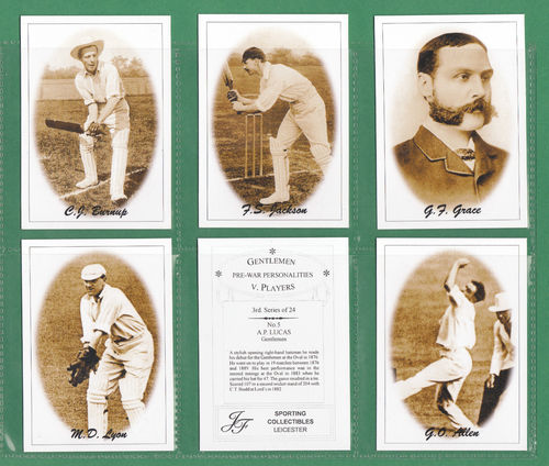 Jf Sporting Collectibles - Set Of Xl 24 Cricket's Gentlemen V Players 3rd Series