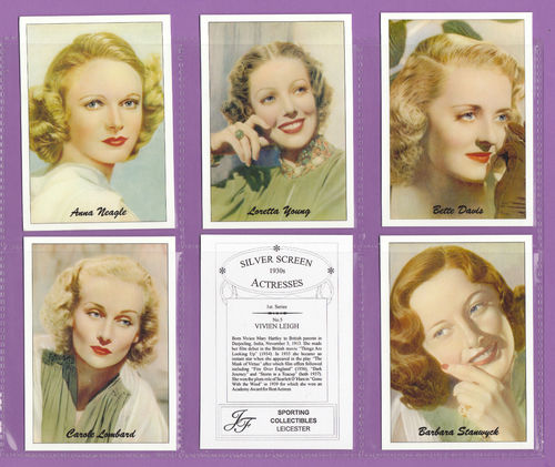 Jf Sporting Collectibles - Set Of Xl 24 Silver Screen Actresses 1930s