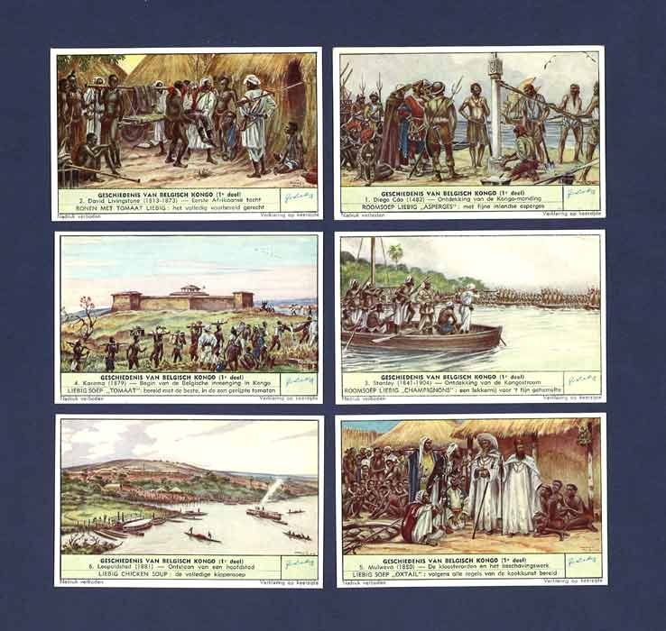 Liebig - Set Of X 6 - S 1545 / F 1542 - History Of The Belgian Congo I - 1952