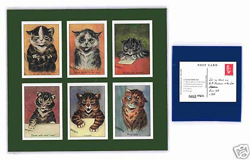 Louis Wain - Set Of 6 Cat Cards - Attitude
