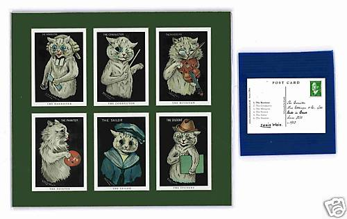 Louis Wain - Set Of 6 Cat Cards - Cats In Black