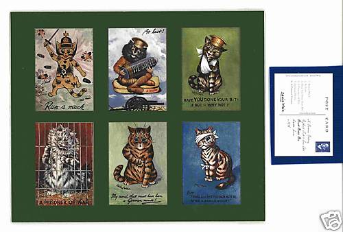 Louis Wain - Set Of 6 Cat Cards - First World War