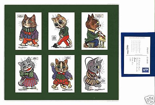 Louis Wain - Set Of 6 Cat Cards - Mascots