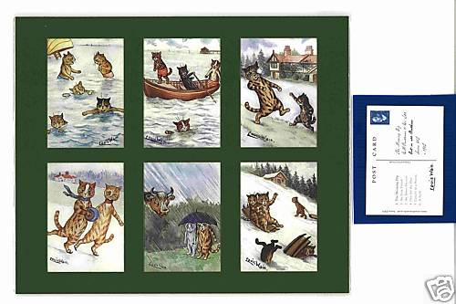 Louis Wain - Set Of 6 Cat Cards - Out In All Weathers