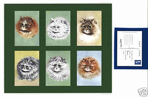 Louis Wain - Set Of 6 Cat Cards - Persians
