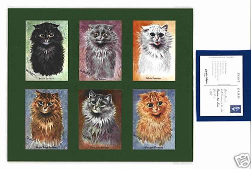 Louis Wain - Set Of 6 Cat Cards - Persians 2nd Series