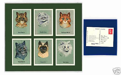 Louis Wain - Set Of 6 Cat Cards - Prizewinners