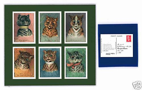 Louis Wain - Set Of 6 Cat Cards - Purr-fect Reaction