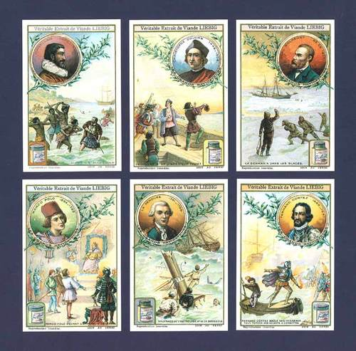 Nostalgia Classics - Set Of Xl 6 - Liebig ' S. 1094 Famous Explorers ' Cards
