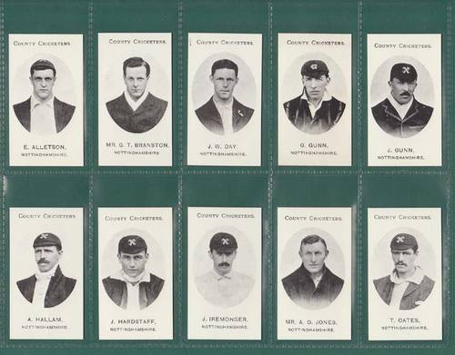 Nostalgia Reprints - Set Of 14 - Taddy ' County Cricketers - Nottinghamshire '