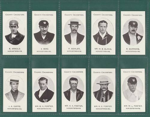 Nostalgia Reprints - Set Of 14 - Taddy ' County Cricketers - Worcestershire '