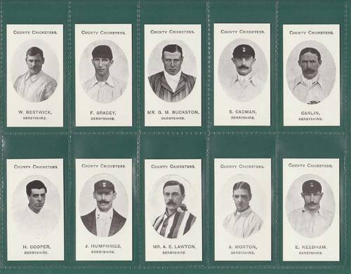 Nostalgia Reprints - Set Of 15 - Taddy ' County Cricketers - Derbyshire ' Cards