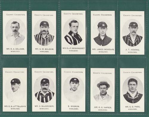 Nostalgia Reprints - Set Of 15 - Taddy ' County Cricketers - Middlesex ' Cards