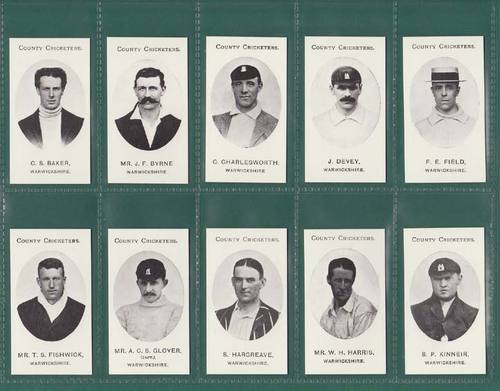 Nostalgia Reprints - Set Of 15 - Taddy ' County Cricketers - Warwickshire 'cards