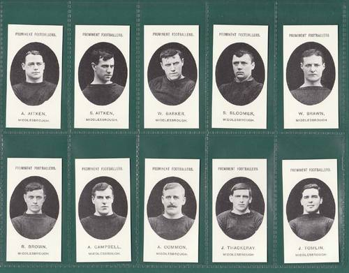 Nostalgia reprints - set of 15 - taddy ' footballers - middlesbrough ' cards