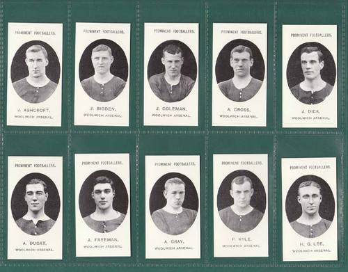Nostalgia reprints - set of 15 - taddy ' footballers - woolwich arsenal ' cards