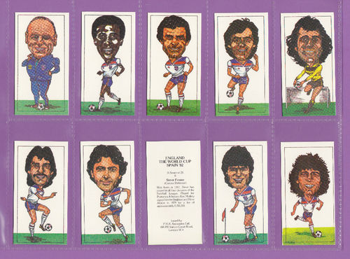P.m.r. - Set Of 25 Footballers - England, The World Cup, Spain 1982